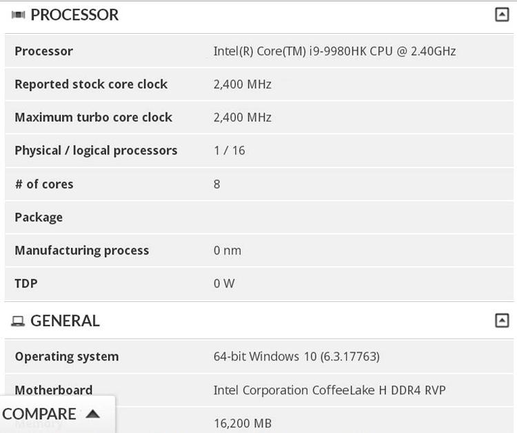 Intel готовит восьмиядерный процессор Core i9-9980HK для ноутбуков новости
